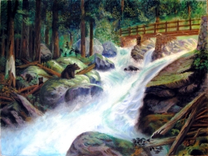 Oil painting of spring waters flowing in the mountains.