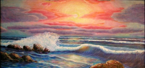 Oil painting of waves crashing against rocks.